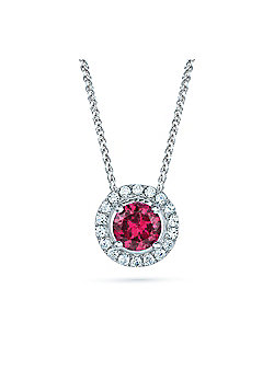 REAL Effect Rhodium Plated Sterling Silver Red Cubic Zirconia Circle Cluster Pendant - 16/18 inch