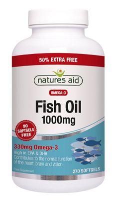 Natures Aid Omega 3 Fish Oil 1000mg - 270 Capsules