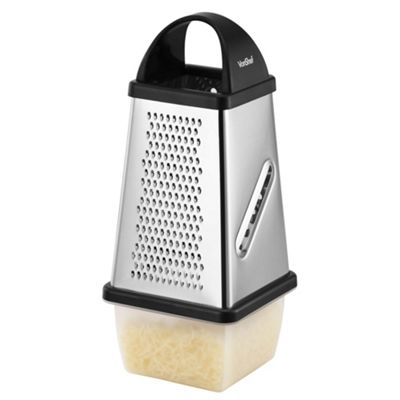 VonShef Stainless Steel Four Sided Cheese Grater with Collection Box & Lid