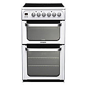 Hotpoint Ultima Electric Cooker with Electric Grill and Ceramic Hob, HUE52P S - White