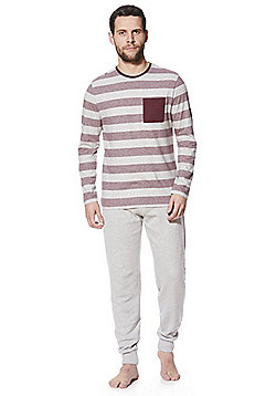 F&F Striped Long Sleeve T-Shirt Lounge Set - Burgundy & Grey