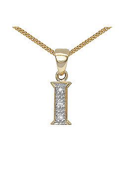 Jewelco London 9 Carat Yellow Gold Elegant Diamond-Set Pendant on an 18 inch Pendant Chain Necklace - Inital I