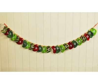 Christmas Stocking Fabric Garland Xmas Advent Calendar