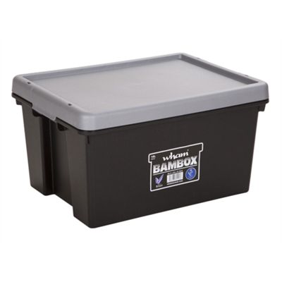 Wham Bam 16L Heavy Duty Box & Lid - Black/Silver - Pack of 3