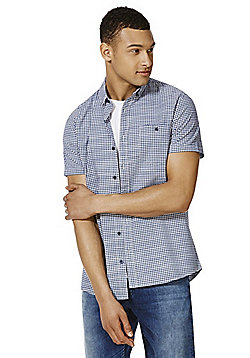 F&F Gingham Short Sleeve Shirt and Grandad T-Shirt Set - Navy