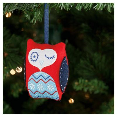 Festive Red Padded Owl Hanging Hanging Decoration