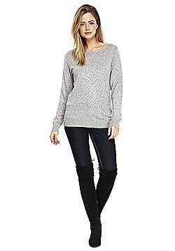 Wallis Embellished Sparkle Front Jumper - Grey