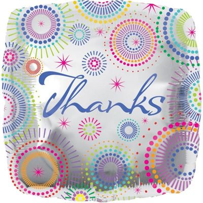 Thanks Dots Square Foil Balloon - 18 inch Foil