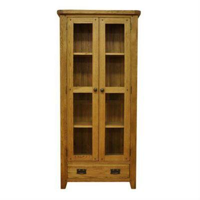 Cambridge Petite Rustic Oak 2 Door Display Cabinet