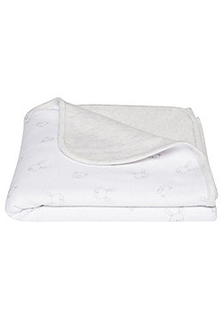 F&F Bunny and Bear Blanket One Size White