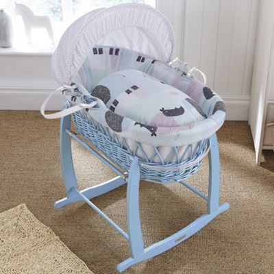 Clair de Lune Blue Wicker Moses Basket (Stanley & Pip)