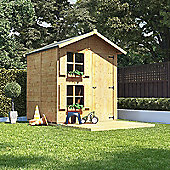 6x5 BillyOh Peardrop Junior Children Wooden Playhouse Outdoor - Premium with Bunk and 4ft Picket Fence