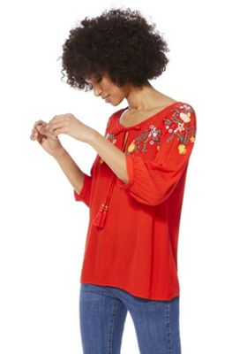 F&F Floral Embroidered Top Red 8