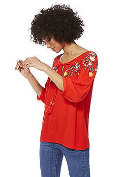 F&F Floral Embroidered Top - Red