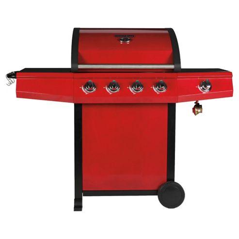 Tesco Red Premium 4 Burner Gas BBQ + Side Burner
