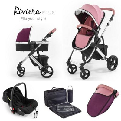 Tutti Bambini Riviera Plus 3 in 1 Chrome Travel System - Dusty Pink / Plum