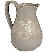 Ceramic Lace Detail Traditional Jug In Grey