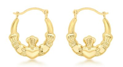 9ct Gold Las Claddagh Creole Earrings