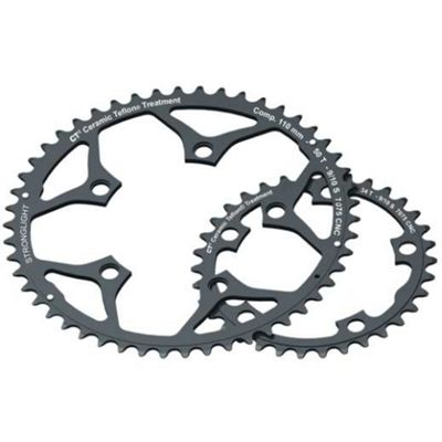 Stronglight 110PCD 5083 Series 5-Arm Road Black Chainrings 48T-50T - 50T