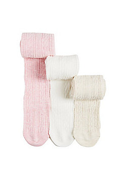 F&F 3 Pack of Super Soft Cable Knit Tights - Pink