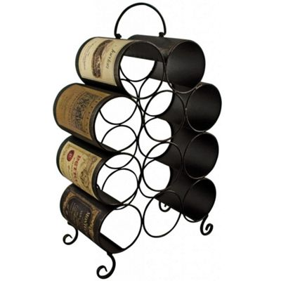 Labels - Metal Decorative 11 Bottle Wine Rack - Brown / Cream