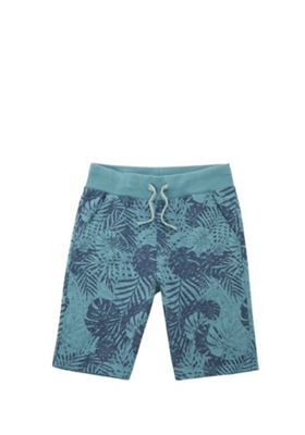 F&F Palm Print Sweat Shorts Turquoise 5-6 years