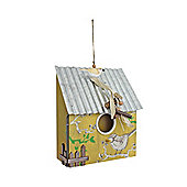 Hanging Yellow Wooden Bird House with Corrugated Metal Roof & Bird Detail