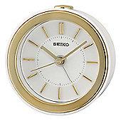 Seiko QHE156W Beep Alarm Bedside Clock│LED Flashing Alarm│3D index│Snooze│White│