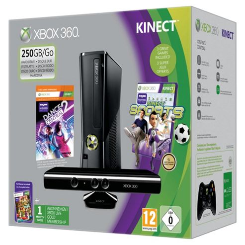 Xbox 360 250GB Console with Kinect Sensor, Kinect Sports & Dance Central 2 (Fitness)