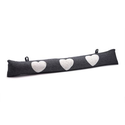 Door Draught Excluder - Grey Herringbone Pattern With Hearts & Hanging Hooks