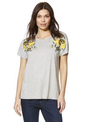F&F Embroidered Shoulder T-Shirt Marl Grey 10