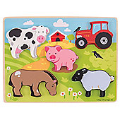 Bigjigs Toys Chunky Lift Out Farm Puzzle