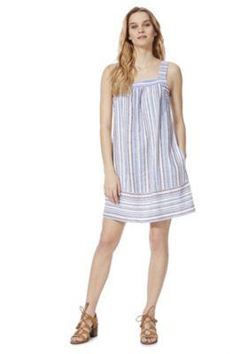 F&F Striped Linen-Blend Summer Dress Blue 22