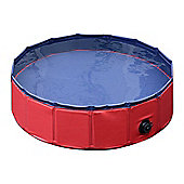 PawHut Pet Swimming Foldable Tub Pool Dog Puppy Indoor / Outdoor (Red, 80 × 30H)