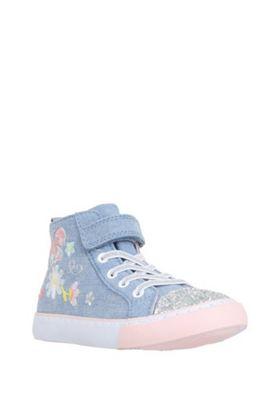 F&F Embroidered Glitter Toecap High Top Trainers Denim Blue Child 9