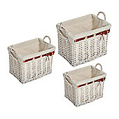 Homcom Storage Basket Wicker Bin Hamper Display Nature (3 Sets)