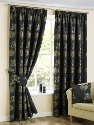 Oakley Pencil Pleat Curtains, Black 229x137cm