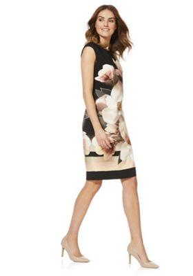 Roman Originals Floral Placement Print Dress Black Multi 10