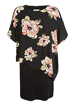 Sienna Couture Floral Overlay Plus Size Dress - Black