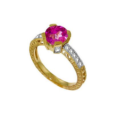 QP Jewellers Diamond & Pink Topaz Fantasy Ring in 14K Gold - Size B 1/2