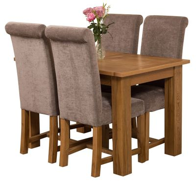 Hampton Extending Kitchen Solid Oak Dining Set Table & 4 Grey Fabric Chairs