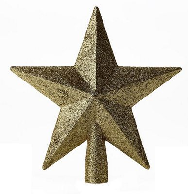 Glitter Star Christmas Tree Topper Decoration - Gold