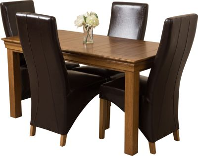 French Chateau Rustic Solid Oak 150 cm Dining Table with 4 Brown Lola Leather Chairs
