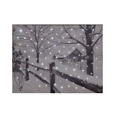 Country House Snow Scene Canvas Lit Wall Canvas