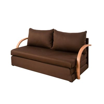 Comfy Living Fold Out Sofa Bed with Wooden Arms in Chocolate