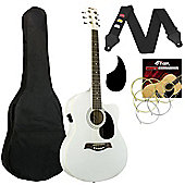 Tiger White Electro Acoustic Guitar Pack