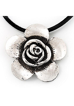 Burn Silver Rose Flower Pendant On Leather Cord - 40cm Length