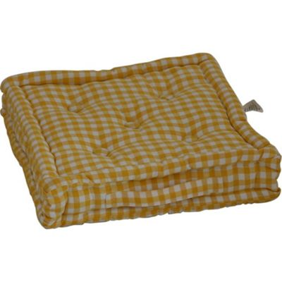 Homescapes Cotton Gingham Check Yellow Floor Cushion, 50 x 50 cm