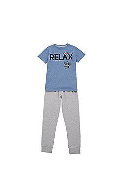 F&F Relax Slogan Pyjamas - Blue & Grey