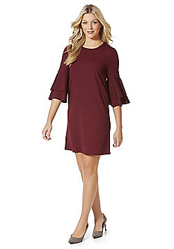 Vero Moda Double Bell Sleeve Shift Dress - Wine